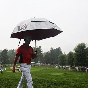 Rory McIlroy walks to the tenth tee during the second round of the PGA Championship.