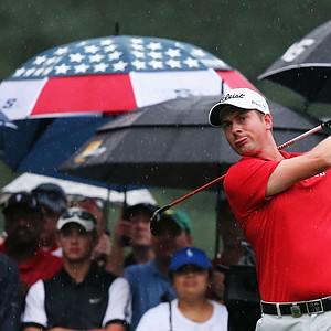 Webb Simpson hits his tee shot on the 11th hole during the second round of the 95th PGA Championship.