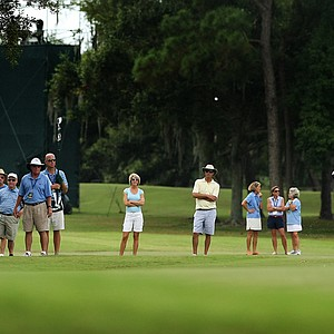 Emma Talley hits her second shot at No. 6 during the semifinals of match play at the 2013 U. S. Women's Amateur at Country Club of Charleston.