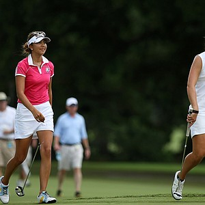 Alison Lee and Emma Talley during the semifinals of match play at the 2013 U. S. Women's Amateur at Country Club of Charleston.