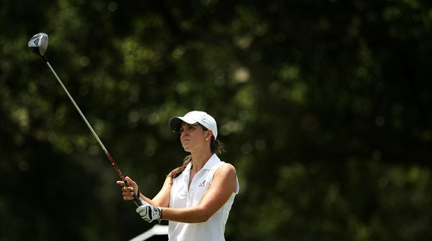 Emma Talley prepares for a tee shot during the semifinals of match play at the 2013 U. S. Women's Amateur at Country Club of Charleston.
