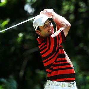 Francesco Molinari watches his tee shot on the third hole during the third round of the 95th PGA Championship.