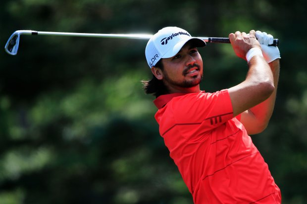 Jason Day hits a tee shot during the third round of the 95th PGA Championship in Rochester, N.Y.