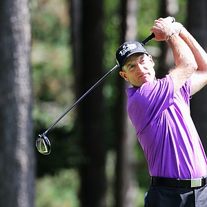 Jim Furyk hits his tee shot on the fourth hole during the third round of the 95th PGA Championship.