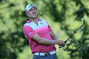 Jonas Blixt watches his tee shot on the 15th hole during the third round of the 95th PGA Championship in Rochester, N.Y.