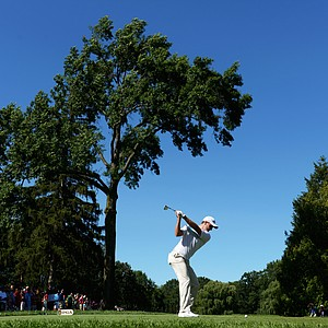 Martin Kaymer hits his tee shot on the seventh hole during the third round of the 95th PGA Championship in Rochester, N.Y.