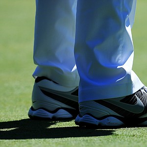 A detailed shot of the shoes of Rory McIlroy are seen during the third round of the 95th PGA Championship.