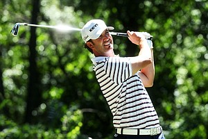 Scott Piercy hits his tee shot on the third hole during the third round of the 95th PGA Championship in Rochester, N.Y.