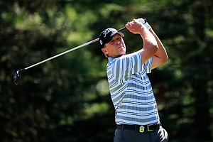 Steve Stricker watches his tee shot on the seventh hole during the third round of the 95th PGA Championship.