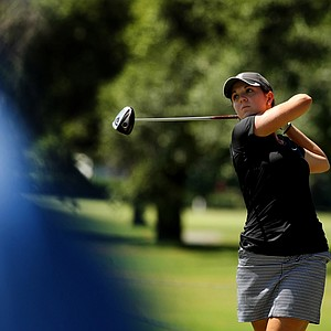 Emma Talley hits her tee shot at No. 18 during the final round of match play at the 2013 U. S. Women's Amateur at Country Club of Charleston.