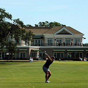 Emma Talley in the fairway at No. 18 during the first 18 holes of the final round of match play at the 2013 U. S. Women's Amateur at Country Club of Charleston.