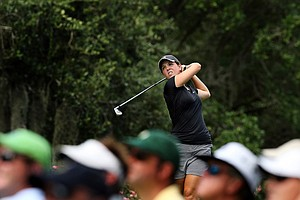 Emma Talley watches her tee shot at No. 11, 29th hole, during the final round of match play at the 2013 U. S. Women's Amateur at Country Club of Charleston.