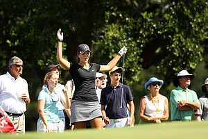 Emma Talley reacts to nearly holing out at No. 14, the 32nd hold, during the final round of match play at the 2013 U. S. Women's Amateur at Country Club of Charleston.