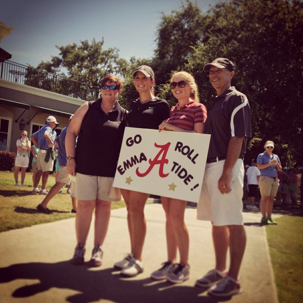 Alabama head coach Mic Potter, far right, with his wife, Kim, left, flank Emma Talley and Stephanie Meadow after the first 18 holes of the final round of match play at the 2013 U. S. Women's Amateur at Country Club of Charleston.