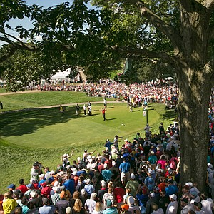 The gallery builds for the final round of the 2013 PGA Championship at Oak Hill.
