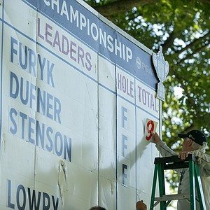 The leaderboard is prepped for the final round of the 2013 PGA Championship at Oak Hill.