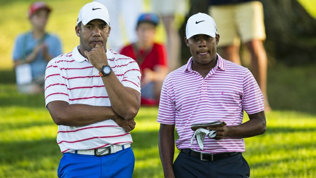 Julio Vegas (right) shot a 10-over 80 in the first round of the 2013 U.S. Amateur at Charles River Country Club. Brother and PGA Tour professional Jhonattan caddied for his younger brother.