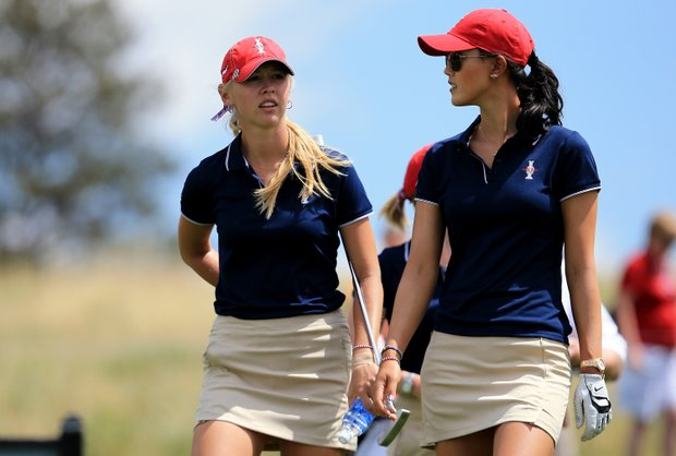 Jessica Korda and Michelle Wie of the USA during practice for the 2013 Solheim Cup at The Colorado Golf Club.