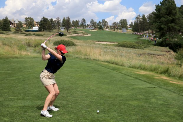 Morgan Pressel of the USA during practice for the 2013 Solheim Cup at The Colorado Golf Club.