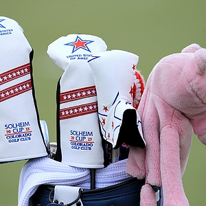 The golf clubs of Paula Creamer of the USA during practice for the 2013 Solheim Cup at The Colorado Golf Club.