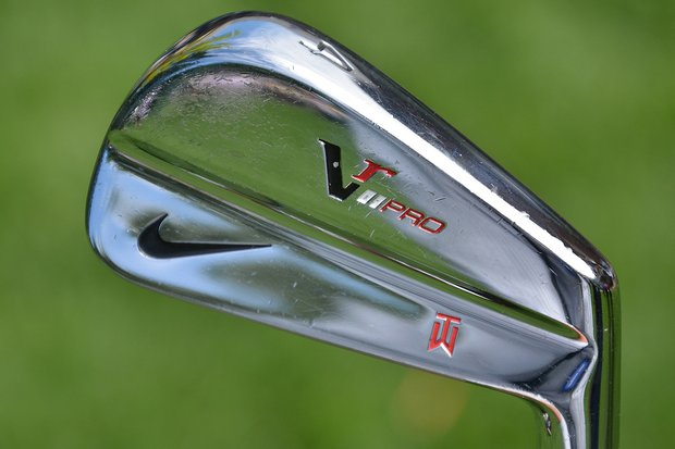 All of Tiger Woods' irons, like his 4-iron shown here, are stamped with his TW logo.