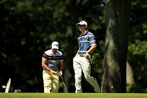 Brandon Hagy defeated Ricardo Gouveia during the Round of 64 at the 2013 U. S. Amateur at The Country Club.