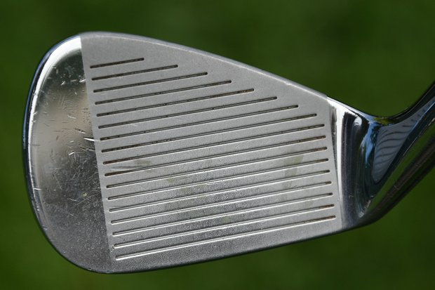 The lower-middle portion of Woods' 8-iron shows where he makes contact most often.