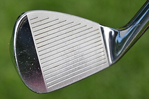 All of Tiger Woods' irons, including his pitching wedge shown here, are made from 1025 forged carbon steel for enhanced feel.