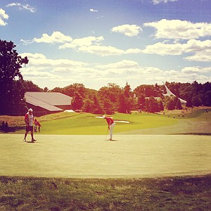 Hole No. 12 during the Round of 32 at the 2013 U. S. Amateur at The Country Club.