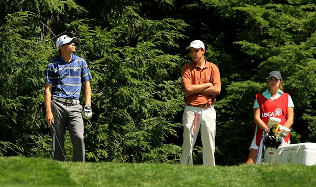 Brandon Hagy, left, and Scottie Scheffler, right, wait for the wind at No. 13 during the Round of 32 at the 2013 U. S. Amateur at The Country Club. Scheffler defeated Hagy in 20 holes.