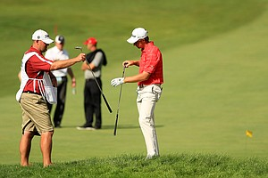 Patrick Rodgers fell to Corey Conners during the Round of 16 at the 2013 U. S. Amateur at The Country Club.