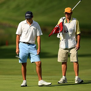 Gavin Hall reacts to missing a putt at No. 13 during the Round of 16 at the 2013 U. S. Amateur at The Country Club. Hall lost to Matt Fitzpatrick.