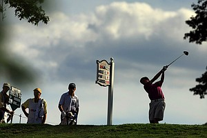 Matt Fitzpatrick hits his tee shot at No. 14 during the Round of 16 at the 2013 U. S. Amateur.