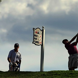 Matthew Fitzpatrick hits his tee shot at No. 14 during the Round of 16 at the 2013 U. S. Amateur.