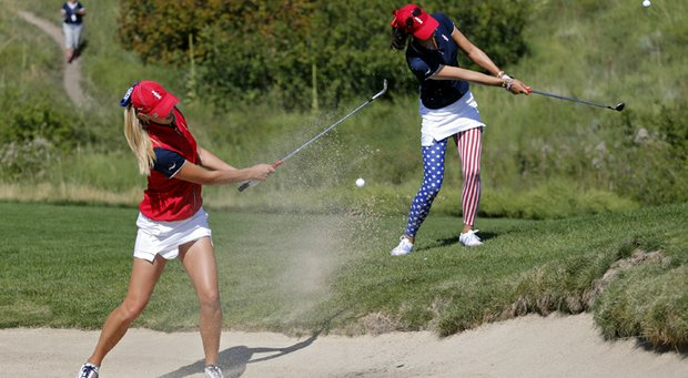 Jessica Korda (left) and Michelle Wie during U.S. practice for the 2013 Solheim Cup.