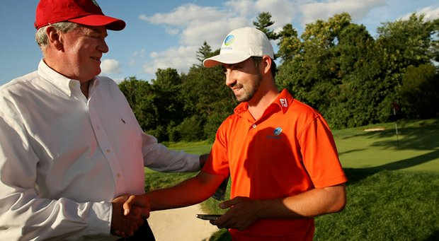 Brady Watt with host Todd Clark during the 2013 U.S. Amateur in Brookline, Mass.