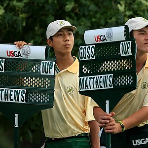 Double the informatiuon with standard bearers during the quarterfinals at the 2013 U. S. Amateur at The Country Club.