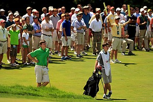 Matt Fitzpatrick and his brother/caddie Alex at No. 12 during the quarterfinals at the 2013 U. S. Amateur at The Country Club.