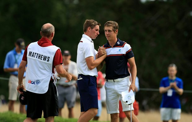 Oliver Goss, right, defeated Brandon Matthews 5 and 3 during the quarterfinals at the 2013 U. S. Amateur at The Country Club.