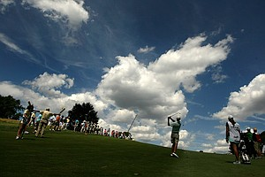 Scottie Scheffler hits his second shot at No. 6 during the quarterfinals at the 2013 U. S. Amateur at The Country Club.