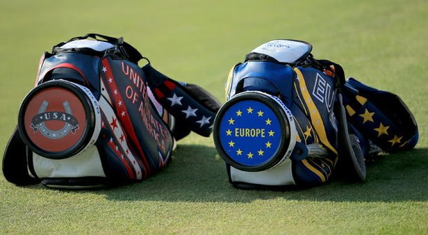 USA and Europe golf bags during the afternoon fourball matches for the 2013 Solheim Cup at The Colorado Golf Club.