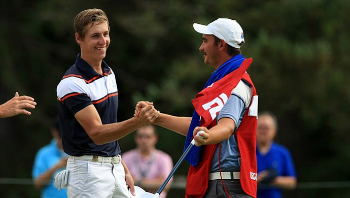 Oliver Goss defeated Brandon Matthews 5 and 3 during the quarterfinals at the 2013 U. S. Amateur at The Country Club.