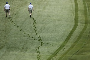Spectators walk out for the second round of the 2013 Wyndham Championship in Greensboro, N.C.