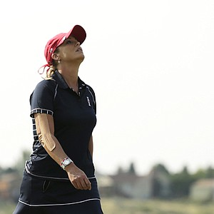 Cristie Kerr during Friday-morning foursomes during the 2013 Solheim Cup at Colorado Golf Club.