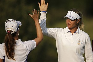 Suzann Pettersen was paired with two European rookies on Friday at the Solheim Cup.