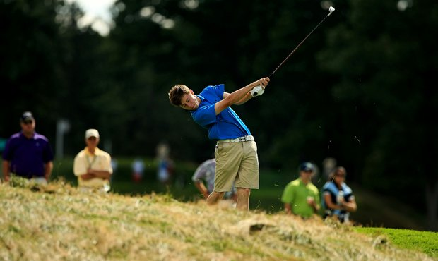Matt Fitzpatrick during the Round of 64 at the 2013 U. S. Amateur at The Country Club.