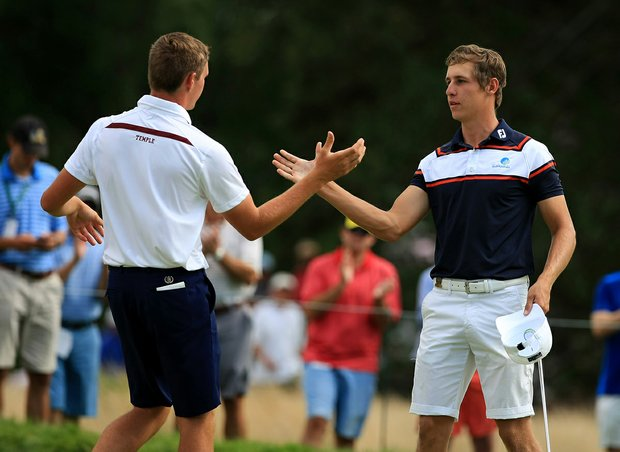 Oliver Goss defeated Brandon Matthews during the quarterfinals at the 2013 U. S. Amateur at The Country Club.