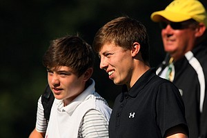 Matt Fitzpatrick and his brother/caddie Alex Fitzpatrick during the semifinals at the 2013 U. S. Amateur at The Country Club.