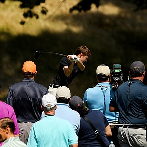 Matt Fitzpatrick hits his tee shot at No. 10 during the semifinals at the 2013 U. S. Amateur at The Country Club.
