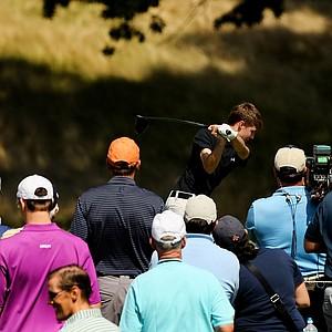 Matt Fitzpatrick hits his tee shot at No. 10 during the semifinals at the 2013 U. S. Amateur at The Country Club.